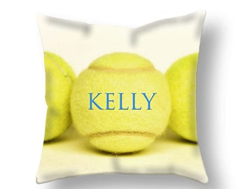Customized Tennis Pillow Cover-Personalized Pillow Cover-Custom Sports Decor-Linen Pillow Cover-Suede Pillow Cover-Tennis Pillow Case