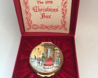 Rare Halcyon Days Enamel Bilston & Battersea Christmas 1978 Trinket Box
