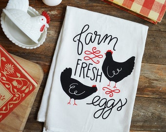 Farm Fresh Eggs, Chicken Kitchen Towel, Mother's Day Gift, Tea Towel, dish towel, Farmhouse, Farm decor, gifts under 15, gifts for her