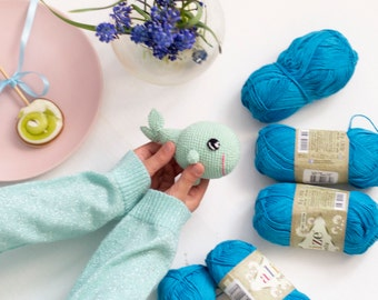 Mint Crochet Whale  baby Toy, Stuffed Whale Toy, Amigurumi Whale,Cosy Plush Ocean Toy,Nursery Kids Gift Toy