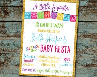 Surprise baby shower invitation little senorita baby shower invitation fiesta baby shower surprise baby shower girl baby filmwisefo Images