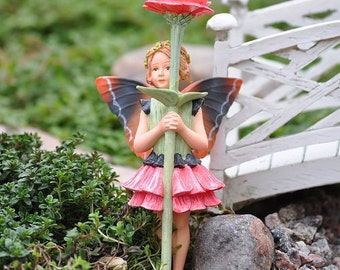Miniature Dollhouse FAIRY GARDEN ~ Retired Zinnia Flower Fairy  ~ NEW