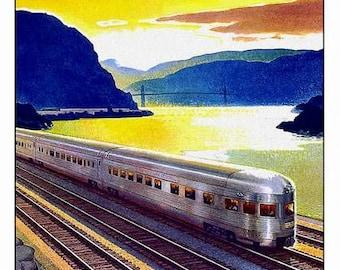 Art Print Hudson New York Train Rail Travel Poster Print -  1950s ? 8 x 10