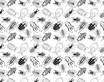 Beetles Black and White wrapping paper A2