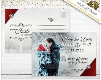 Holiday Save the Date Winter Wonderland Christmas Wedding Announcement Photo Engagement Postcard Christmas Snowflakes Xmas Save the date