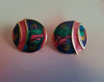 Colorful enamel post earrings.  Pink, green and blue swirl, vintage enamel