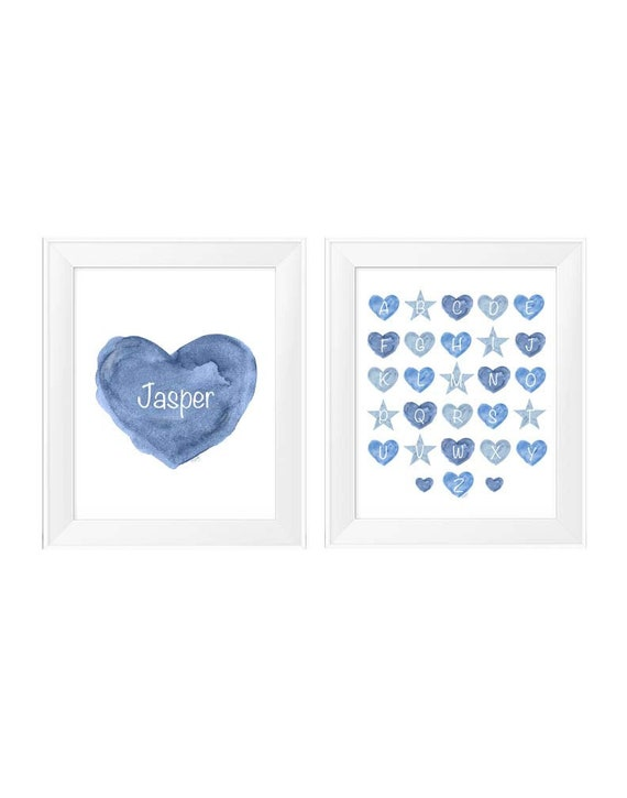 Boys Blue Nursery Print Set, Set of 2- 11x14 Prints with ABC's