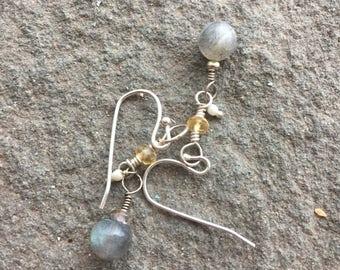 Labradorite and citrine earrings