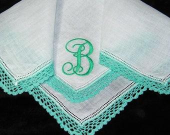 "Vintage Teal Green on White Monogrammed Monogram ""B"" Ladies Crochet Lace Trim Brides Wedding Handkerchief, Hankie, Hanky - 1034"