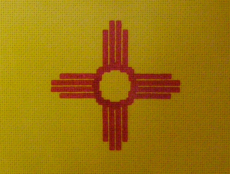 New mexico state flag zia cross stitch chart zoom buycottarizona