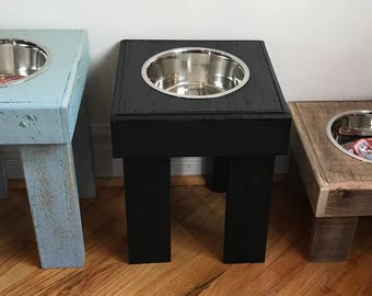 Reclaimed dog bowl stand, rustic pet feeders, dog bowl feeder, single dog bowl stand, custom sizes