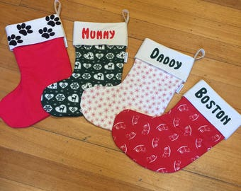 PERSONALISED  55cm Long Christmas Stockings, Made To Order, Genuine Quality Padded and Lined