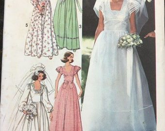 Simplicity 7886 Evening // Wedding Dress Vintage Sewing Pattern (1980s) Misses Size 12