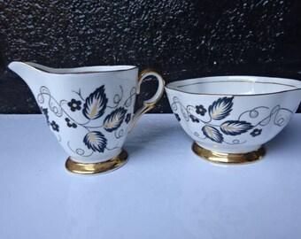 Windsor Bone China Open Sugar Bowl & Creamer/White Black Gold/Creamer/Sugar Bowl/Vintage China/Gilded China/Afternoon Tea/Vintage/1950s
