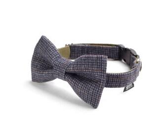 Dog Bow Tie - Navy & Grey Checkers Tweed