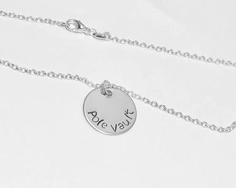 Pole Vault Track & Field Event Charm Necklace .925 Sterling Silver Necklace