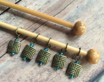 Bronze zentangle knit stitch markers - set of 5 for your project bag
