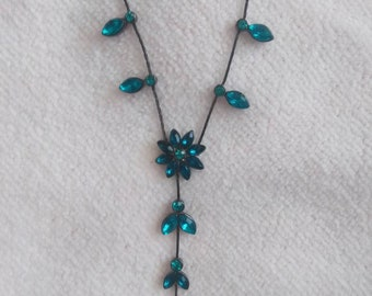 Blue Crystals and Black Chain Necklace, Statement Necklace, Fashion Jewelry.
