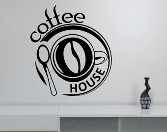Coffee Sign Wall Decal Window Vinyl Sticker Modern Cafe Logo Art Decorations for Coffee Bar Shop House Dinning Room Kitchen Decor cff4