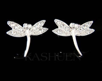 Swarovski Crystal Dainty Petite Cute Dragonfly Bridal Wedding Nature Wildlife Rhodium Plated Earrings Jewelry Christmas Gift Best Friend new