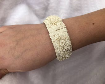 Vintage Carved  Cream Cuff Bracelet