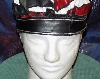 """Leather-Hat """"just-pieces"""" in green, red, white, black"""