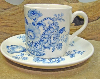 Charlotte Royal Crownford Ironstone England Demitasse Cup and Saucer Cobalt Floral Pattern