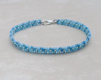 Turquoise Blue bracelet, Wave Daisy Chain Bracelet, Seed Bead Bracelet, Friendship bracelet,