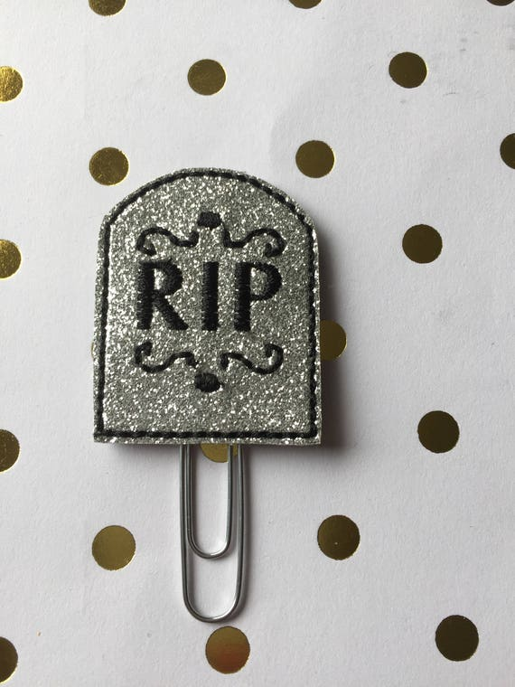 Silver Glitter Tombstone planner Clip/Planner Clip/Bookmark. Halloween Planner Clip. RIP Planner Clip. Fall Planner Clip
