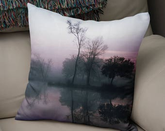 Gift for Mom, Sunrise Throw Pillow, Lake Reflection Sunset Pillow Cover, Trees Silhouette Pillow, Gift for Her Wedding Gift, Louisiana Bayou