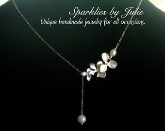 Three Silver Orchid Pearl Lariat (Y-Style) Necklace, Freshwater Pearls, Silver Plated Orchids, All Sterling Silver, Romantic, Minimal
