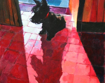 Scottie in the doorway acrylic painting on canvas