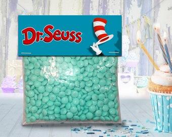 Dr Seuss favor bag toppers, treat bag topper, party favor, candy bag topper, gift bag topper - PRINTABLE INSTANT DOWNLOAD