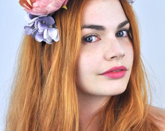 Delilah - Rose Flower Crown Headpiece | Rose Head Band | Floral Head Piece | Flower Headpiece | Festival Headpiece | Festival Headband