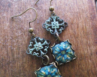 Mediterranean tile jewelry, dangle earrings, handcrafted jewelry, Spanish tile drop earrings, Gypsy Boho chic, hand made jewelry