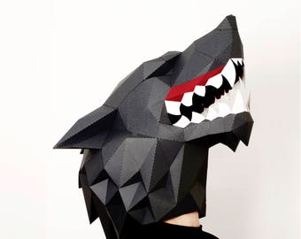 Wolf mask paper KIT | Paper wolf | Masks for masquerade | Mask for men | Mask for glasses | Beast mask | Werewolf costume | Papercraft mask