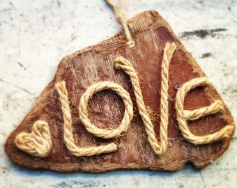 Love Rope on Wood - Sign - Wall Art - Love Decor - Valentine's Decor - Anniversary