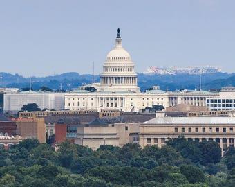 Washington DC Photography, US Capitol Photo Print, Capitol Canvas, DC Wall Art, Capitol Photo Framed 18x18, Washington Photo Gift