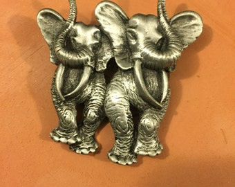 Vintage JJ Jonette Jewelry Pewter Elephant Brooch, signed estate jewelry / safari brooch / estate jewelry/ retro brooch/ gifs for her