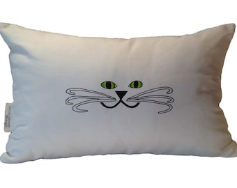 Kitty Face Pillow- Cat Pillow- Cat Face Pillow- Cat Face Lumbar Pillow- by beckyzimmdesign