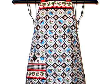 Childs Apron Ages 3 to 8 Cherries Reversible Adjustable Kids