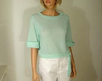 Mint Green Waffle Weave Knit Top
