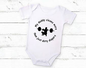 Cross Fit Baby Bodysuit, Exercise Baby, WorkOut Buddy, Strong Dad