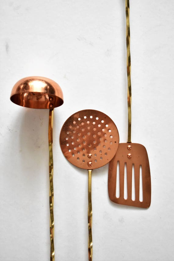 """17"""" vintage set of 3 solid brass copper french style hanging kitchen utensils / ladle / spoon"""