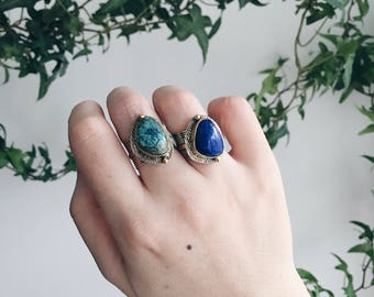 Unqiue One-of-a-Kind Two-toned Chrysocolla/Lapis Lazuli Sterling Silver Ring | 9K Solid Gold | Size 6.25 | Healing Ring