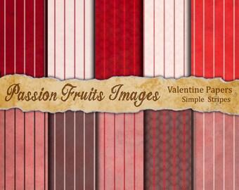 Vintage Valentine Stripes 10 Pattern Digital Paper Pack--Instant Download
