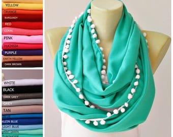 Infinity scarf with pom pom trim Team Spirt Scarf,graduation scarf Loop scarf  pashmina scarf ,CHOOSE COLOR of scarf and pom pom trim