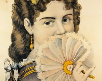 Currier and ives Lithograph, Victorian Lithograph Hand Painted Lithograph, 1877 to 1894 Fannie, Victorian Child, United States of America
