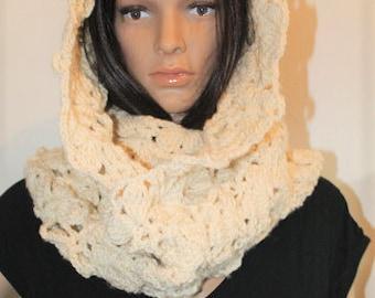 Women Scarf. Crochet Infinity scarf. Orange Infinity Scarf. Beige Infinity Scarf. Crocheted Scarf. Pumpkin Infinity scarf.Off white scarf