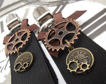 SteamPunk Skirt Clips, Cog & Watch Clock Skirt Hitchers, Hitch-Up Clips, Suspender Clips